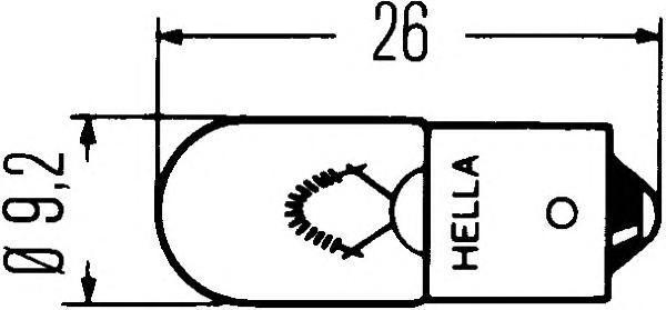 Лампа, 6 В, 4 Вт, T4W, BA9s, HELLA, 8GP 002 067-061