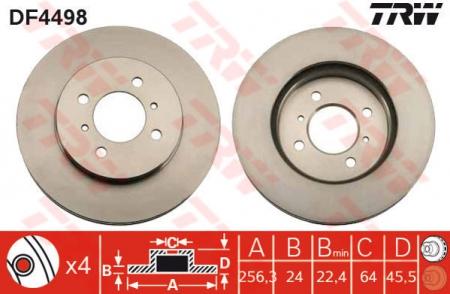 Диск тормозной передний, TRW, DF4498