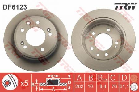 Диск тормозной задний, TRW, DF6123
