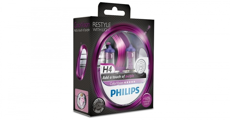 "Лампа ""ColorVision"", 12 В, 60/55 Вт, H4, P43t-38, PHILIPS, 12342CVPPS2"