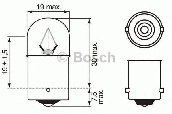 Лампа, 24 В, 5 Вт, R5W, BA15s, BOSCH, 1 987 302 704