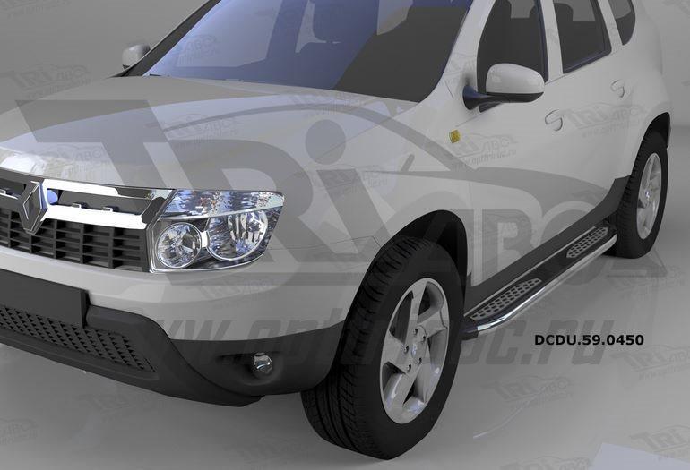 Пороги алюминиевые (Zirkon) Renault Duster (Рено Дастер) (2012-) / Nissan Terrano (2014-), DCDU59045