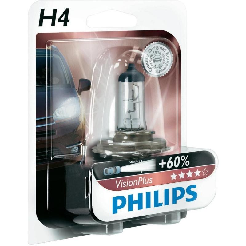 "Лампа ""VisionPlus"", 12 В, H4, PHILIPS, 39925728"