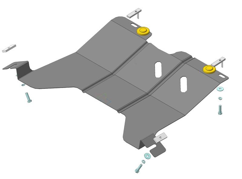 Защита картера двигателя, КПП Chery Kimo (A1) 2007- V=1,3i (сталь 2 мм), MOTODOR69002