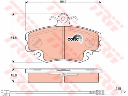 Колодки дисковые Передние, TRW, GDB1465