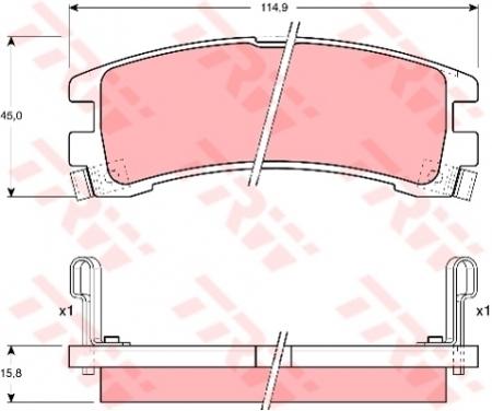 Колодки дисковые Задние, TRW, GDB1018