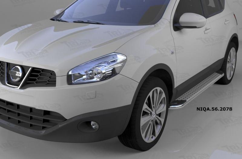 Пороги алюминиевые (Opal) Nissan Qashqai (Ниссан Кашкай) (2006-2014), NIQA562078