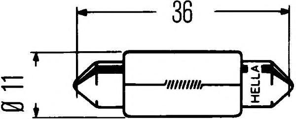 Лампа, 24 В, 5 Вт, C5W, SV8,5, HELLA, 8GM 002 092-241