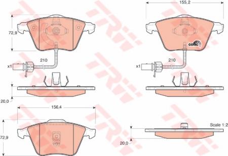Колодки дисковые Передние, TRW, GDB1528