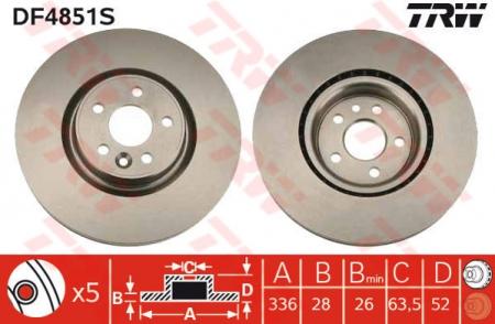 Диск тормозной передний, TRW, DF4851S