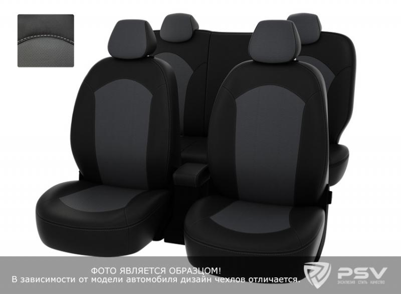 """Чехлы Chevrolet Aveo 2012-> чер-сер экокожа, """"Оригинал"""", 122448"""