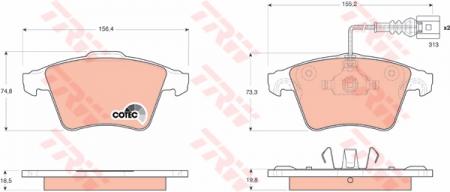 Колодки дисковые Передние, TRW, GDB1651