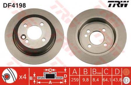 Диск тормозной задний, TRW, DF4198