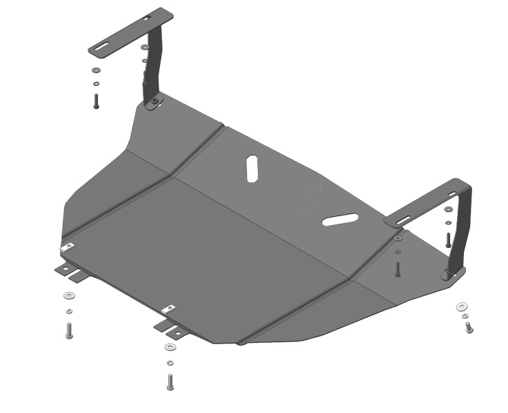 Защита картера двигателя, КПП Kia Picanto II 2011- V=1,2i, (сталь 2 мм), MOTODOR61003