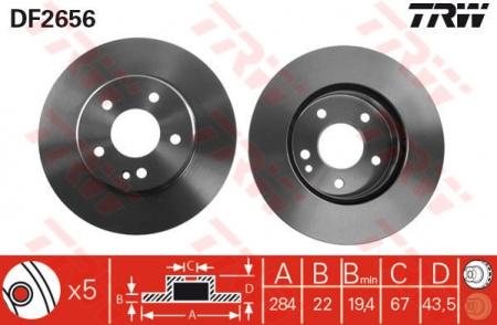 Диск тормозной передний, TRW, DF2656