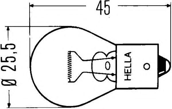 Лампа, 24 В, 18 Вт, R24V/18W, BA15s, HELLA, 8GA 002 072-241