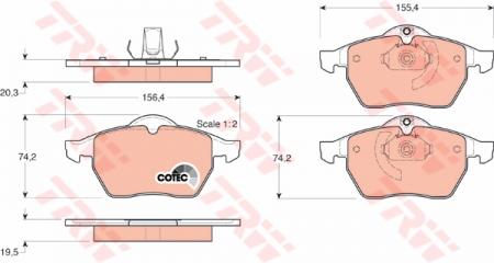 Колодки дисковые Передние, TRW, GDB1271