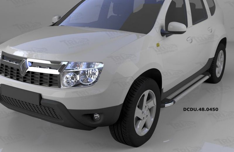 Пороги алюминиевые (Brillant) Renault Duster (Рено Дастер) (2012-) / Nissan Terrano (2014-) (серебр)