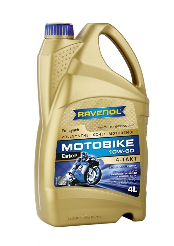 Моторное масло RAVENOL Motobike 4-T Ester, 10W-60, 4л, 4014835730991