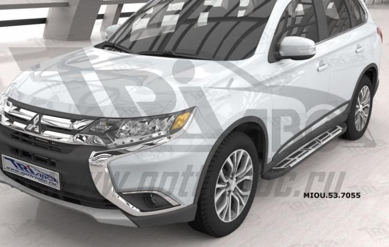 Пороги алюминиевые (Corund Silver) Mitsubishi Outlander (Митсубиши Аутлендер) (06-12;12-;15-)/ASX (2
