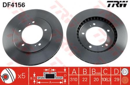 Диск тормозной передний, TRW, DF4156