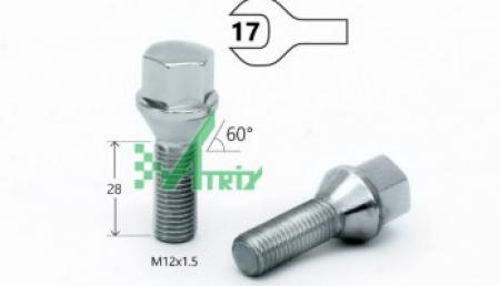 Болт C17A28 Cr M12X1,50X28 Хром Конус с выступом ключ 17 мм 175110