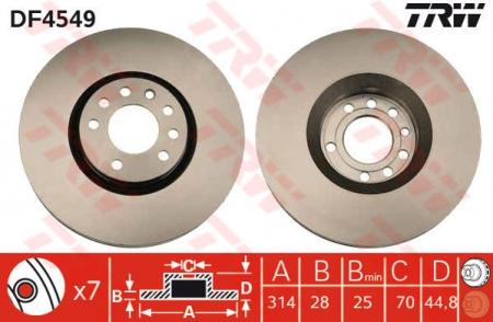 Диск тормозной передний, TRW, DF4549