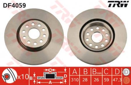 Диск тормозной передний, TRW, DF4059