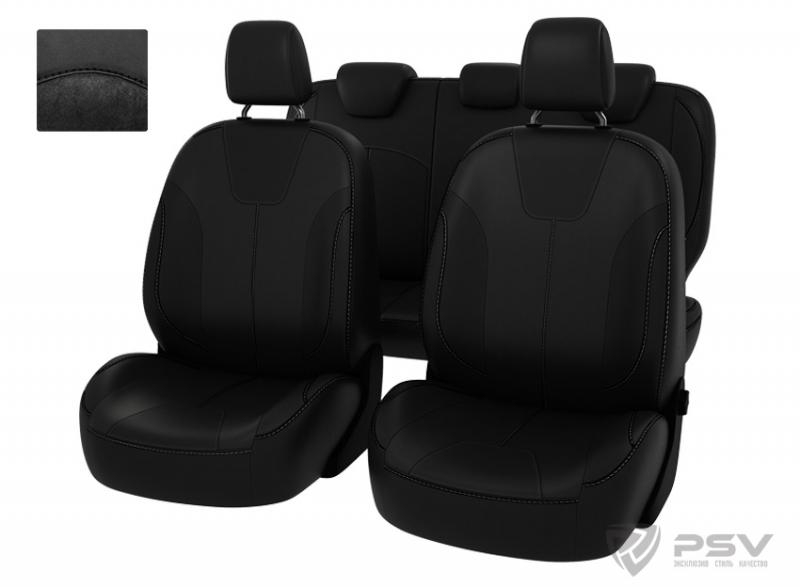 """Чехлы Ford Focus III 11-> (Trend Sport, Titanium) черный экокожа + черная алькантара """"Оригинал"""", 126"""