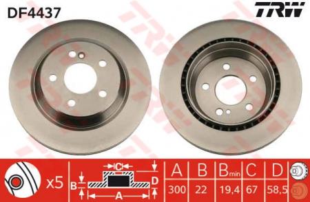 Диск тормозной задний, TRW, DF4437