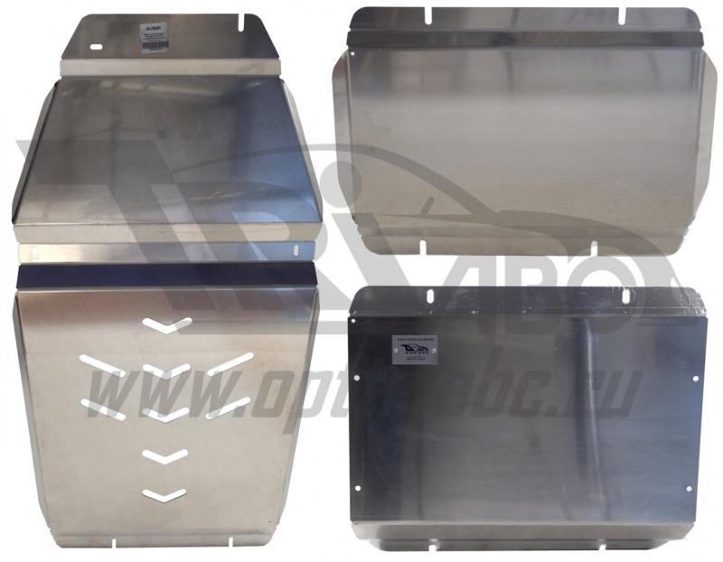 Защита картера двигателя, кпп и рк Cadillac Escalade V-6.2 (2015-) из 3-х частей (Алюминий 4 мм), 04