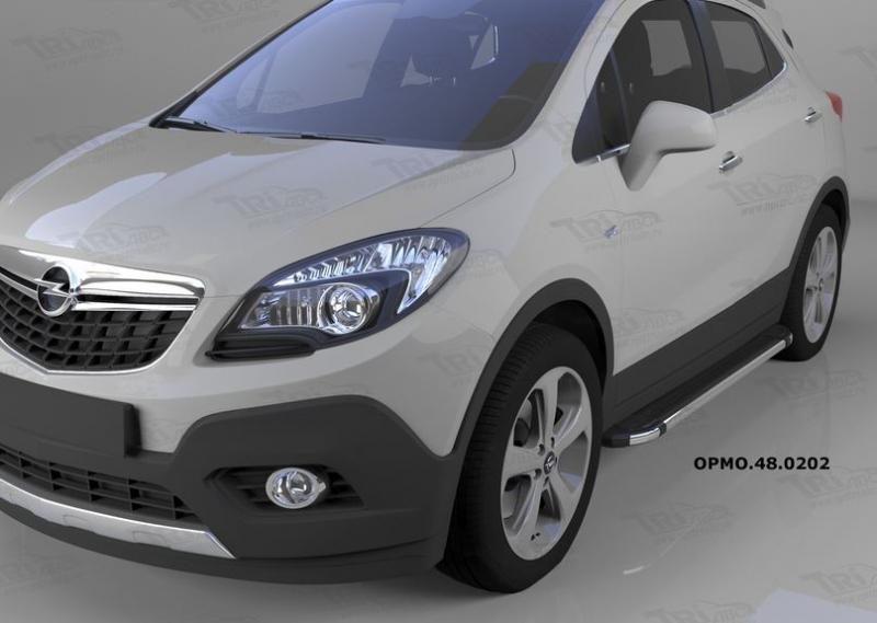 Пороги алюминиевые (Brillant) Opel Mokka (2012-) (черн/нерж), OPMO480202