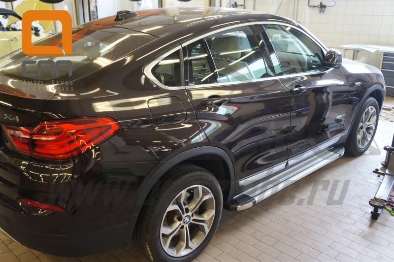 Пороги алюминиевые (Brillant) BMW X3 (F25 2010-) / BMW X4 (2014-) (серебр), BMX3480034