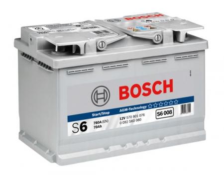 Аккумуляторная батарея Bosch S6 AGM, 12 В, 70 А/ч, 760 А, 0092S60080
