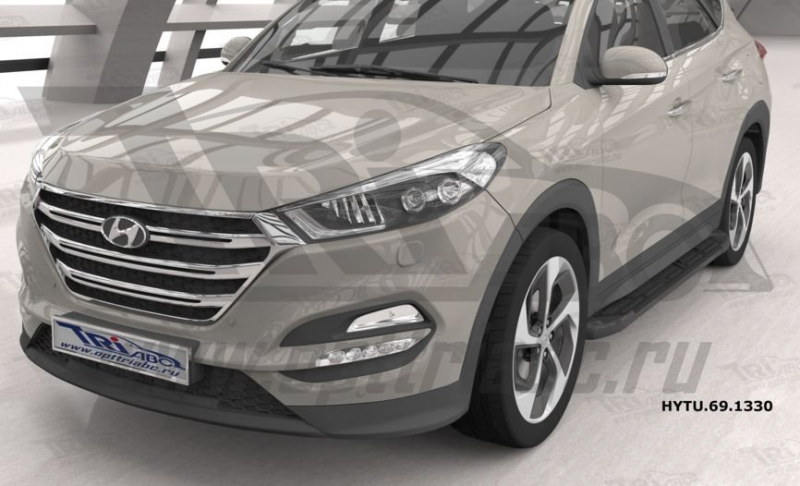 Пороги алюминиевые (Corund Black) Hyundai Tucson (2015-) / Kia Sportage (2016-), HYTU691330