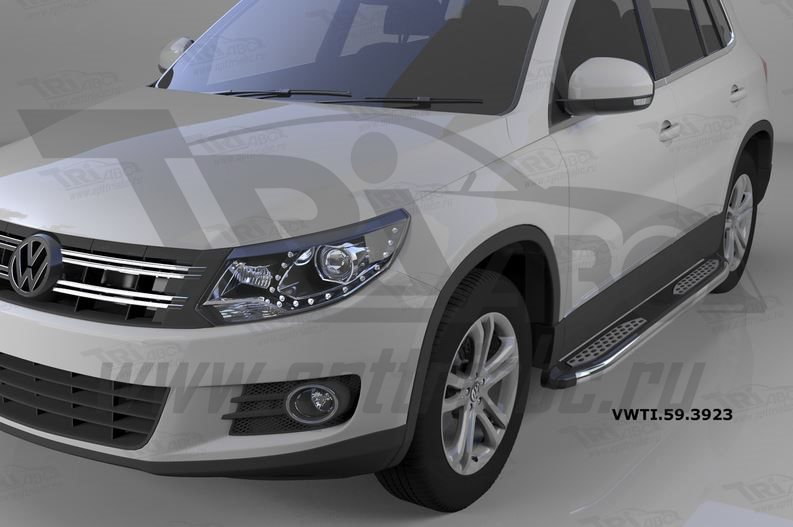 Пороги алюминиевые (Zirkon) Volkswagen Tiguan (Тигуан) (2008-), VWTI593923