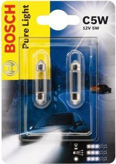 Лампа Pure Light, 12 В, 5 Вт, C5W, SV8,5-8, BOSCH, 1 987 301 004