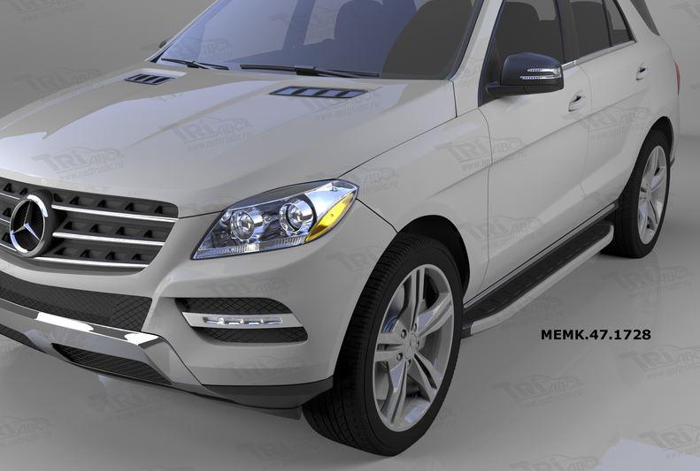 Пороги алюминиевые (Alyans) Mercedes ML W166 (2011-), MEML471729
