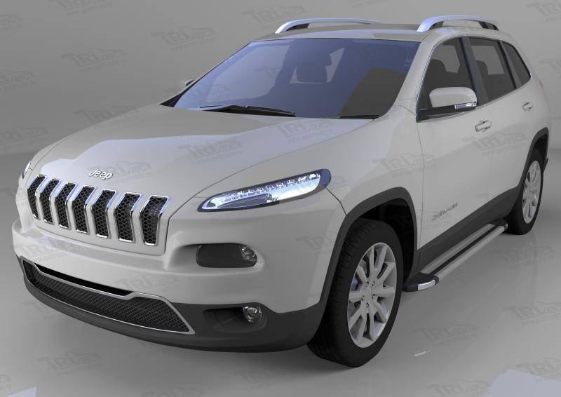 Пороги алюминиевые (Brillant) Jeep Cherokee Trailhawk (2014-) (серебр), JECH481428