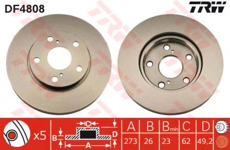 Диск тормозной передний, TRW, DF4808