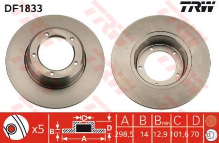 Диск тормозной передний, TRW, DF1833