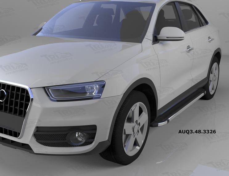 Пороги алюминиевые (Brillant) Audi (Ауди) Q3 (2011-) (черн/нерж), AUQ3483326