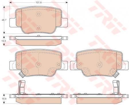 Колодки дисковые Задние, TRW, GDB3547