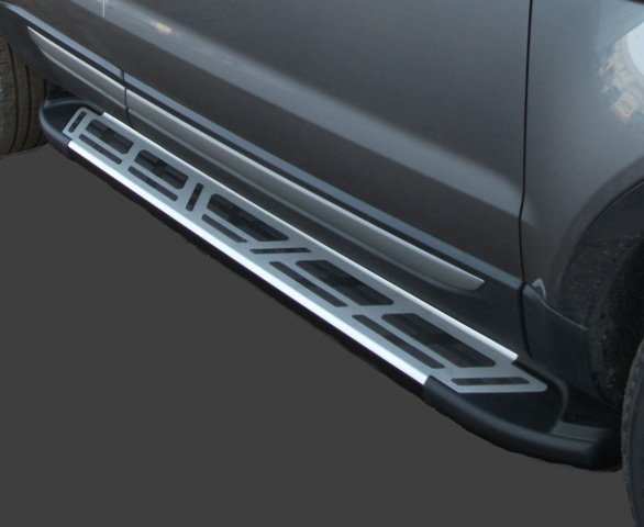 Пороги алюминиевые (Corund Silver) Kia Sportage (Киа Спортаж) (2005-2010), KISP531421