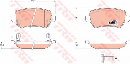 Колодки дисковые Задние, TRW, GDB1515