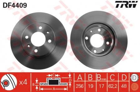 Диск тормозной передний, TRW, DF4409