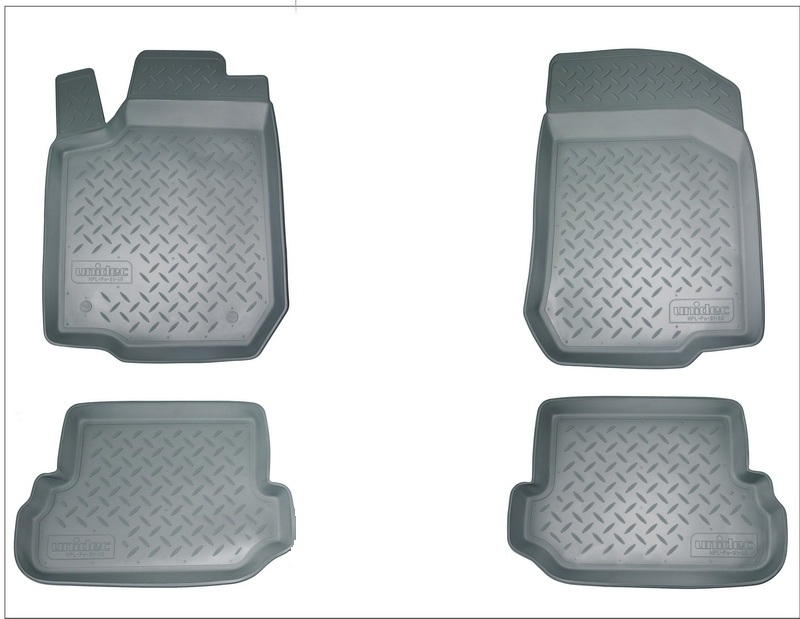 Коврики салона для Audi (Ауди) А6(2008-2011)(серые) (перемычка), NPLPO0503GREY