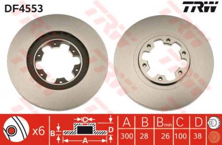 Диск тормозной передний, TRW, DF4553