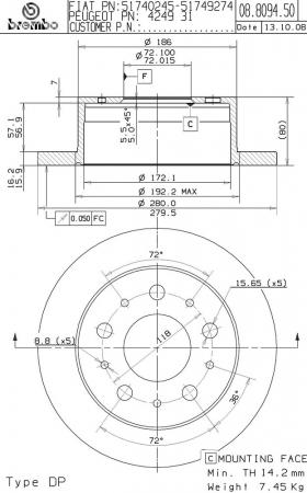 Диск тормозной задний, BREMBO, 08809450