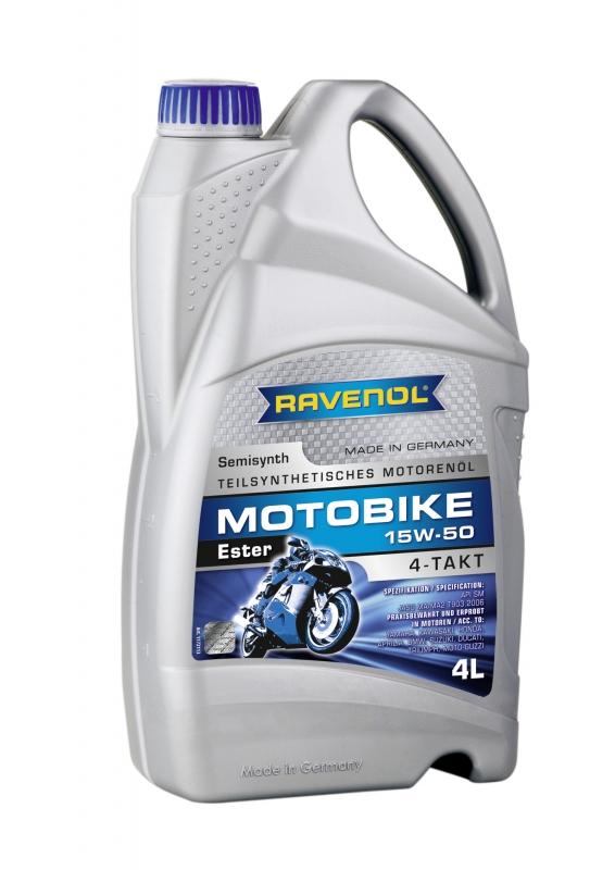 Моторное масло RAVENOL Motobike 4-T Ester, 15W-50, 4л, 4014835731295